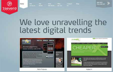 A screenshot of the 3seven9 website homepage