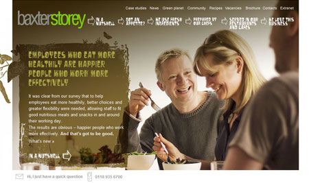 A screenshot of the BaxterStorey website homepage