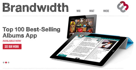 A screenshot of the Brandwidth website homepage