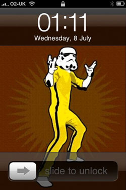 An iPhone wallpaper image that has Bruce Lee's body with a Star Wars Stormtrooper's head and arms.