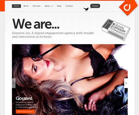 A screenshot of the Creative Jar website homepage