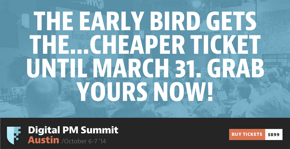 A cropped screenshot of the current DPM Summit 2014 page saying that early bird tickets are available until March 31st