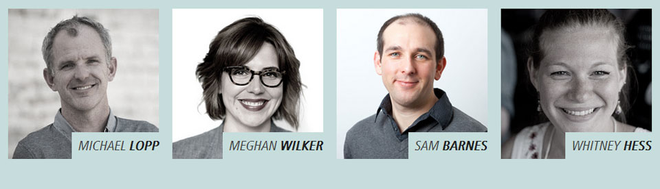 A screenshot of four speakers due to appear at dpm2013. Michael Lopp, Meghan Wilker, Sam Barnes and Whitney Hess