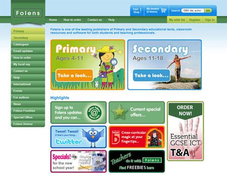 A screenshot of the Folens homepage