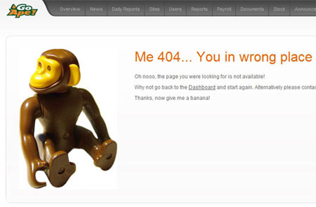 A screenshot of the Go Ape Intranet 404 page
