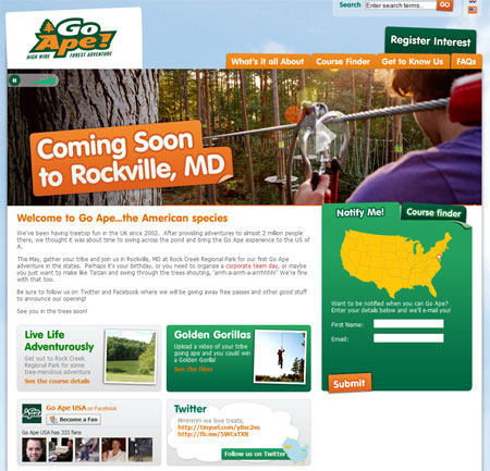 A screenshot of the Go Ape US homepage