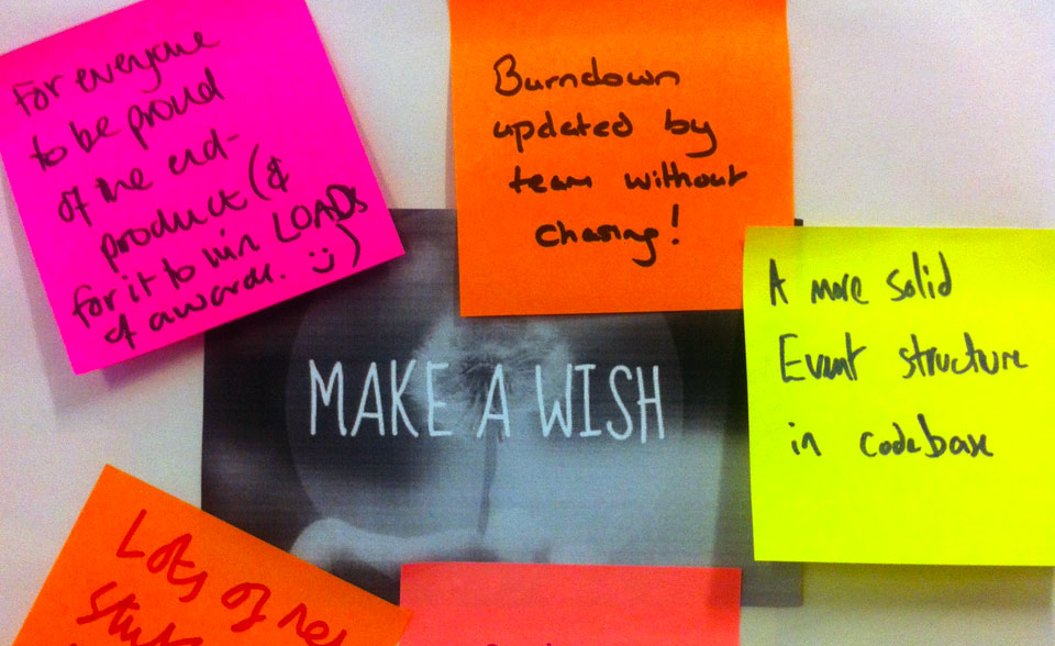 A photo of post-its surrounding a sign saying make a wish