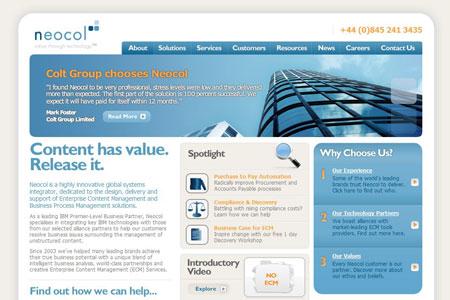 A screenshot of the Neocol website homepage