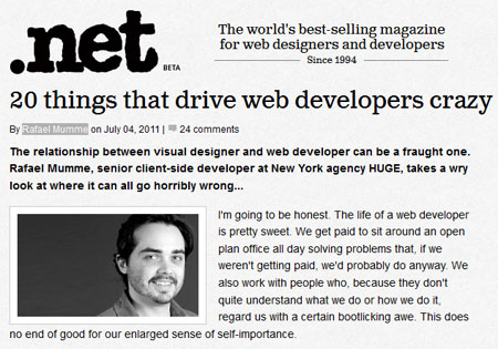 A screenshot of Rafael Mumme's article on .net magazine