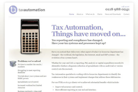 A screenshot of the Tax Automation website homepage