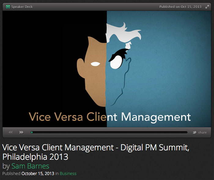 A screenshot of my Vice Versa Client Management slide's first slide.