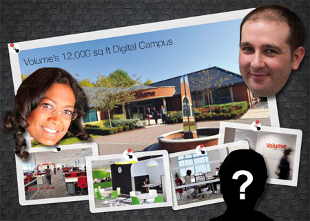 A image of Volume's digital campaus with Sam and his colleague's head cut out and added over the top, with one blank image with a question mark