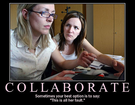 A spoof poster with the large title of Collaborate that shows two women at an office desk - one is looking forward while the other is looking at her colleague, with the tagline - Sometimes your best option is to say it's all her fault