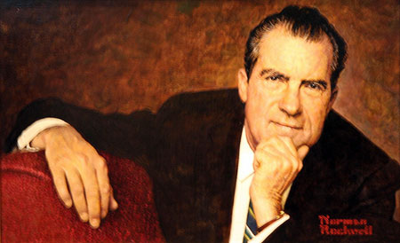 A picture of an oil painting of ex-US President Richard Nixon