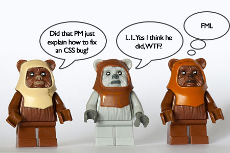 A photograph of three toy Ewoks lined up saying they're amazed a project manager just explained how to fix a CSS bug