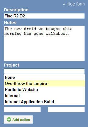 A screenshot of the GTDify Dashboard Add Task UI