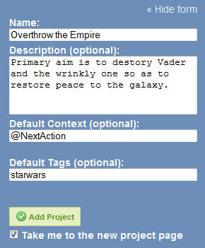 A screenshot of the GTDify add Project UI with a spoof creation of Star Wars as a project