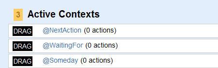 A screenshot of the GTDify Contexts menu
