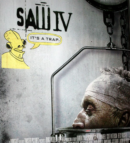 A Saw movie poster with a drawing of Admiral Ackbar on it saying It's a Trap!
