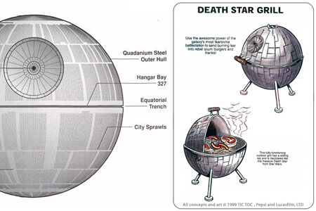 A detailed Death Star schematic and a Death Star themed BBQ grill.