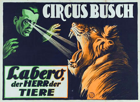 Retro style poster showing a man hypnotising a lion illustrated by a laser beam from his eyes