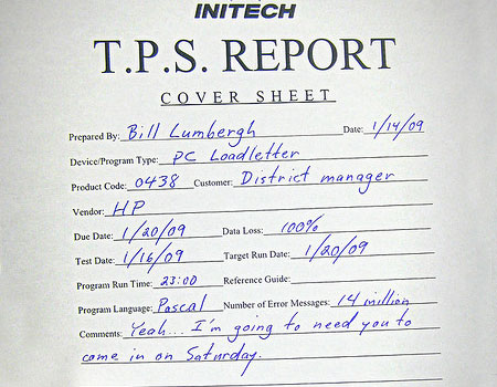 A spoof picture of a TPS report from the movie Office Space