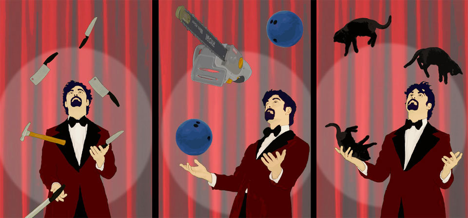 An illustration of a juggler in three sequential pictures, first juggling knives, then a chainsaw and bowling balls and finally three black cats.