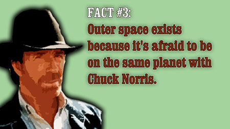 A spoof image of Chuck Norris with the fact that Outer Space exists because it's afraid to be on the same planet with Chuck Norris
