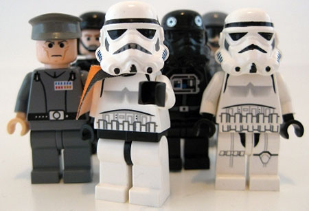 A spoof image of Star Wars Lego figures from the Empire side looking directly at the camera pointing at the viewer