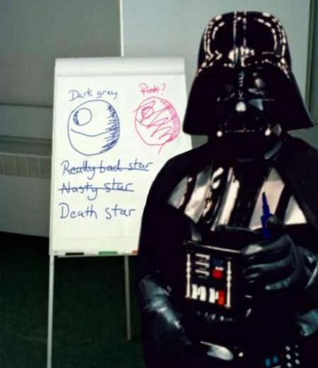 A spoof photograph of Darth Vader in front of a whiteboard with evidence of a session where the name of the Death Star had been the topic