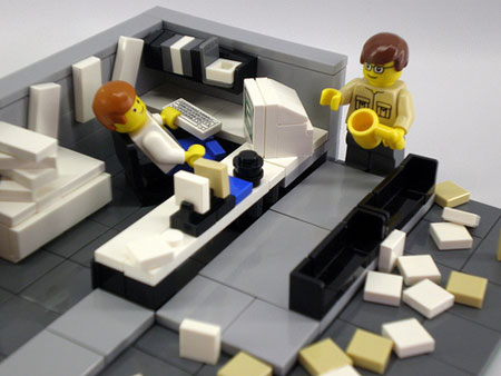 A photograph of Lego figures in a parody set from the movie Office Space