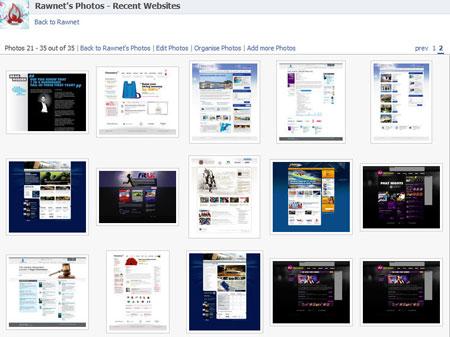 A screenshot of the Rawnet Facebook Recent Websites fan page