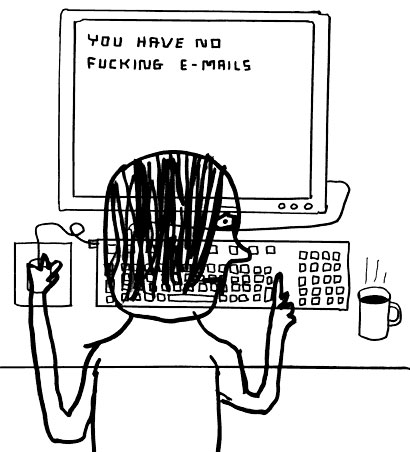 An on purpose bad illustration of a man sat at a computer with the screen saying you have no fucking e-mails